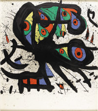 JOAN MIRÓ (Spanish 1893-1983) Untitled Lithograph on paper 35in. x 31in. Signed lower right Edition: 21/75