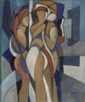 Impressionism & Modernism:Cubism, ÉLA KÁDÁR (Hungarian 1877-1955). Three Figures. Gouache onpaper. 26.25in. x 21.75in.. Signed lower right. ...
