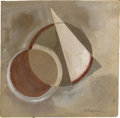 Impressionism & Modernism:Abstraction, ALEXANDER RODCHENKO (RUSSIAN 1891-1956). AbstractComposition. Gouache on heavy cardboard. 8.25in. x 8.25in..Signed low...