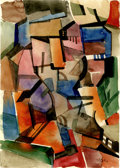 Impressionism & Modernism:Cubism, ALEXANDRA EXTER (Russian 1884-1949). Abstract Composition.Watercolor on paper. 11.5in. x 8.25in.. Signed lower right. ...