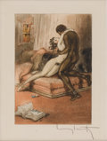Prints:European Modern, LOUIS ICART (French 1888-1950). Erotic scene. 9.5in. x7.5in.. Color lithograph. Signed in pencil lower right. ...
