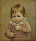 American:Portrait & Genre, GEORGE de FOREST BRUSH (American 1855-1941). Portrait of a SmallChild, 1922. Oil on board. 15.5in. x 14.75in.. Signed a...