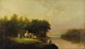 American:Hudson River School, SAMUEL P. DYKE (American 1835-1870). Lanscape with Figures,1868. Oil on canvas. 18in. x 30in.. Signed and dated lower r...