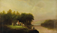 SAMUEL P. DYKE (American 1835-1870) Lanscape with Figures, 1868 Oil on canvas 18in. x 30in. Signed and dated lower r