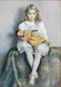 American:Portrait & Genre, AMERICAN SCHOOL (20th Century). Girl with a Doll. Oil oncanvas. 40in. x 28in.. Artist monogram 'R' lower right. ...