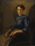 American:Academic, R. RONDOE (American 20th Century). Portrait of a YoungWoman, 1912. Oil on canvas. 48in. x 36.5in.. Signed lowerright. ...