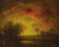 American:Impressionism, HENRY HAMMOND AHL (American 1869-1953). Sunset. Oil onboard. 8in. x 10in.. Signed lower right. ...