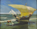 American:Marine, Style of ARTHUR GROVER RIDER (American 1886-1975). Sailboat onthe Beach. Oil on board. 25in. x 31.5in.. ...