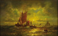 American:Marine, MAURITZ FREDERICK HENDRICK de HAAS (American 1832-1895). SunsetMarine. Oil on canvas. 14in. x 22in.. Signed lower left...