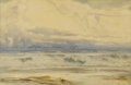 American:Marine, WILLIAM TROST RICHARDS (American 1833-1905). Seascape.Watercolor on paper. 13in. x 19.5in.. Signed lower left. ...