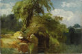 American:Hudson River School, JAMES MCDOUGAL HART (American 1828-1901). Landscape, 1853.Oil on paper laid down on board. 12.25in. x 18.75in.. Inscri...