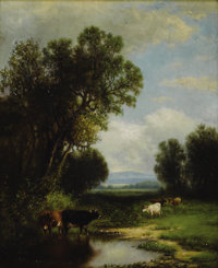 WILLIAM MACDOUGAL HART (American 1823-1894) Cattle Watering Oil on canvas laid down on board 17in. x 14in. Signed lo