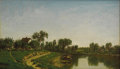 American:Hudson River School, WILLIAM LEWIS MARPLE (American 1827-1910). PastoralLandscape, 1879. Oil on canvas. 12in. x 20in.. Signed and datedlowe...