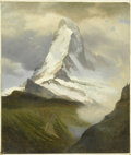American:Hudson River School, ALBERT BIERSTADT (American 1830-1902). Matterhorn . Oil onpaper laid on board 21in. x 17.5in. . Initialed lower left...