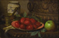American:Still Life, GEORGE HENRY HALL (American 1825-1913). Still Life withTomatoes. Oil on panel. 10in. x 15in.. ...