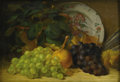 American:Still Life, GEORGE HENRY HALL (American 1825-1913). Still Life with Grapes. Oil on panel. 11in. x 15.75in.. ...