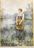 American:Academic, DANIEL RIDGWAY KNIGHT (American 1839-1924). GatheringFlowers. Watercolor on paper. 14.5in. x 10.25in.. Signed andinscr...