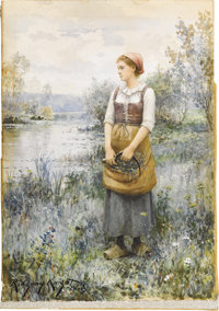 DANIEL RIDGWAY KNIGHT (American 1839-1924) Gathering Flowers Watercolor on paper 14.5in. x 10.25in. Signed and inscr