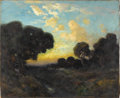 American:Western, JULIAN WALBRIDGE RIX (American 1850-1903). Evening. Oil oncanvas. 26in. x 32in.. Signed lower left. Primarily self-ta...