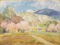 SHELDON PARSONS (American 1866-1943) New Mexico Adobe Oil on board 9in. x 12in. Signed lower right On the reverse: