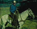 Illustration:Magazine, ALWIN SCHMIDT (American b.1900) . Cowboy, c. 1950 . Oil onboard . 14in. x 18in. . Initialed lower right. ...