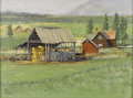 American:Western, FRED FELLOWS (American b. 1934). Montana Farm Scene. Oil oncanvas. 18in. x 24in.. Signed lower left. ...