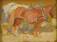 LEON SHULMAN GASPARD (American1882-1964) Team #11, Russia Oil on board 5.25in. x 7in. Signed lower left  Provenanc