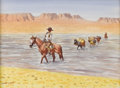 American:Western, LEONARD HOWARD REEDY (American 1899-1956 ). Fording theRiver. Watercolor on paper. 8.5in. x 11.5in.. Signed lowerleft...