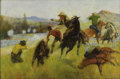 American:Western, WILLIAM GOLLINGS (American 1878-1932). Firing From theTreeline, 1912. Oil on canvas. 24in. x 36in.. Signed and datedlo...