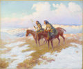 American:Western, LONE WOLF (American 1882-1970). Sunset. Oil on canvas. 20in. x 24in.. Signed lower left. An American Indian raised on ...