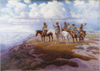 LONE WOLF (American 1882-1970) Warriors of the Grand Canyon Oil on canvas 38in. x 53.5in. Signed lower left  An Am
