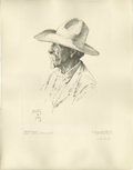 American:Western, WILLIAM HERBERT (BUCK) DUNTON (American 1878-1936). The OldPioneer. Lithograph on paper. 21.25in. x 16in.. Signed and d...