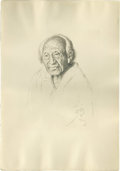 American:Western, WILLIAM HERBERT (BUCK) DUNTON (American 1878-1936). IndianElder. Lithograph on paper. 21.25in. x 16in.. Signed anddate...