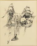 American:Western, FREDERIC SACKRIDER REMINGTON (American 1861 - 1909). Saddle.Ink on paper. 12.25in. x 9.5in.. Signed with monogram lower...