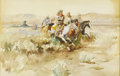 American:Western, Attributed to CHARLES MARION RUSSELL (American 1864-1926). ThePosse, 1899. Watercolor on paper. 15.25in. x 22.25in.. Si...