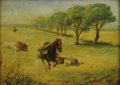 American:Western, AMERICAN SCHOOL (19th Century). Spooked. Oil on canvas.10.5in. x 14.5in.. ...