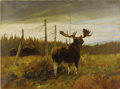 American:Western, CARL RUNGIUS (American 1869-1959). Moose in a Clearing, signedand dated 1907. Oil on canvas. 24in. x 32in.. Signed lowe...