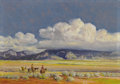 American:Western, OSCAR EDMUND BERNINGHAUS (American 1874-1952). Storm Clouds overTaos Mountain, 1947-48. Oil on masonite. 14in. x 20in....