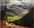 American:Western, FREMONT ELLIS (American 1897-1985). View from the Hill,1969. Oil on masonite. 30in. x 36in.. Signed and dated lower rig...