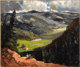 FREMONT ELLIS (American 1897-1985) View from the Hill, 1969 Oil on masonite 30in. x 36in. Signed and dated lower rig