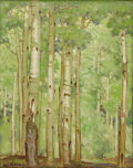 American:Western, CARL REDIN (American 1892-1944). Aspens in Early Summer. Oilon canvas laid down on board. 20in. x 16in.. Signed lower l...