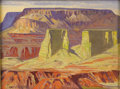 American:Western, CARL REDIN (American 1892-1944). Jemez Canyon. Oil on canvaslaid on board. 12in.x 16in.. Signed lower left. On the reve...