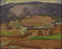 CARL REDIN (American 1892-1944) Edge of the Mountains Oil on canvas mounted on board 19in. x 24in. Signed lower righ