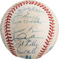 Autographs:Baseballs, 1995 New York Yankees Team Signed Baseball with Rivera, JeterRookie Signatures....