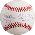 "Autographs:Baseballs, 1980's Mickey Mantle ""536, No. 7"" Single Signed Baseball...."