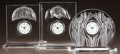 Art Glass:Lalique, THREE LALIQUE CLEAR AND FROSTED GLASS CLOCKS. Cat, owls, and daffodil clocks.. Post 1945. All engraved Lalique, France. ... (Total: 3 Items)