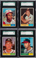 Baseball Cards:Lots, 1961 Topps Baseball Hall of Famers SGC 96 Mint 9 Quartet (4). ...