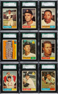 Baseball Cards:Lots, 1961 Topps Baseball High Numbers SGC 96 Mint 9 Collection (9). ...