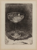 Fine Art - Work on Paper:Print, JAMES ABBOTT MCNEILL WHISTLER (American, 1834-1903). The WineGlass, 1859. Etching on paper. 3-1/4 x 2-1/4 inches (8.3 x...(Total: 2 Items)