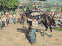 TIM SOLLIDAY (American, b. 1952) At the Races, the Jockey Oil on canvas 30 x 40 inches (76.2 x 10
